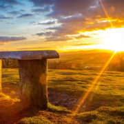 Log Bench Viewing A Wonderful Sunrise HD Desktop Background